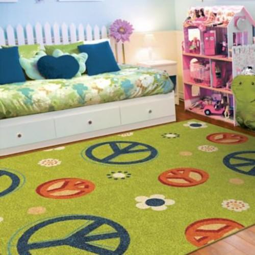 Zoomie Kids Lakisha Green/Blue Area Rug; 3'10'' x 5'5''