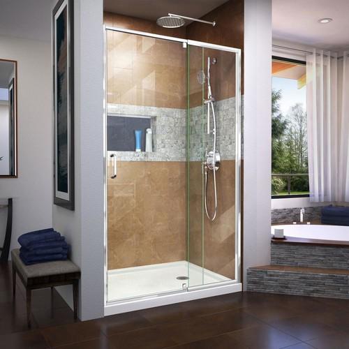DreamLine Flex 42 in. x 72 in. Semi-Frameless Pivot Shower Door in Chrome