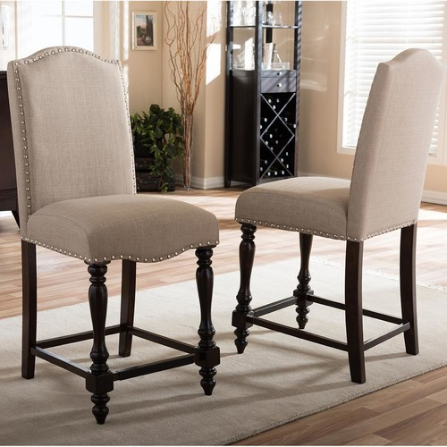 Baxton Studio Zachary Beige Fabric Upholstered 2-Piece Counter Stool Set