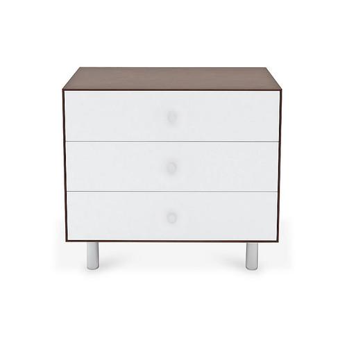 Classic 3-Drawer Dresser, White/Walnut