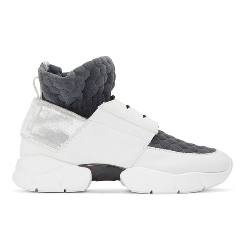 MSGM Off-White & Grey Ruched Jersey Sneakers