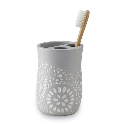 Cannon Toothbrush Holder - Floral [Overall Dimensions : 4.5 in. H. x 3 in. Diam.]