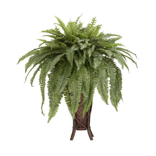 Nearly Natural Boston Fern With Stand Silk Plant Green