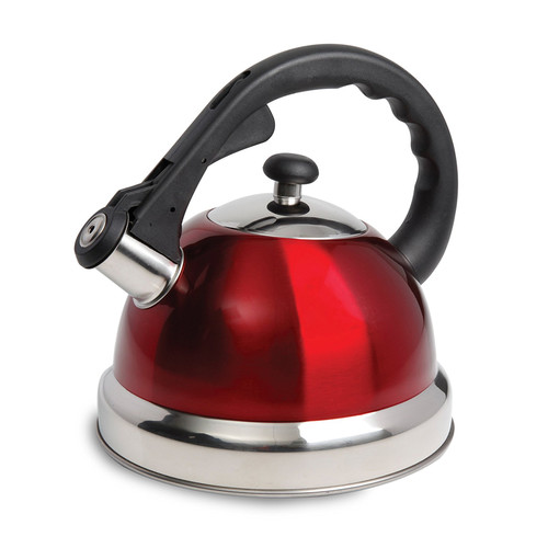 Mr. Coffee 970100683M Claredale 1.7 Qt Whistling Tea Kettle - Red - Nylon Handle - SS