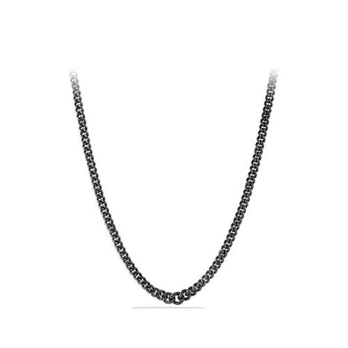'Petite Pav' Curb Chain Necklace with Black Diamonds