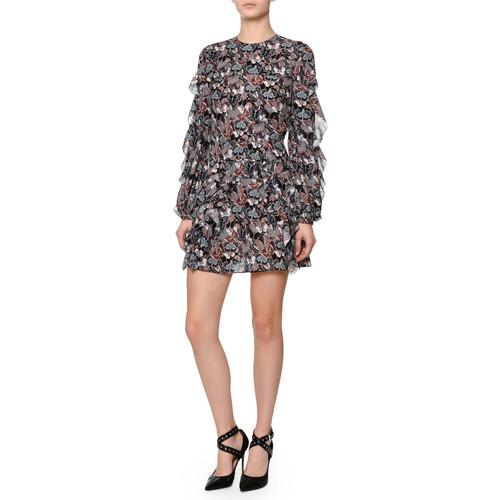 VALENTINO Ruffled Butterfly-Print Silk Dress, Multi