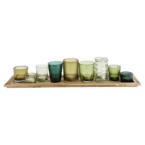 Glass & Wood Candle Gift Set Green - 3R Studios