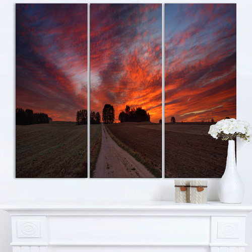 Pathway to Fairy Autumn Sky - Landscape Glossy Metal Wall Art - 36Wx28H