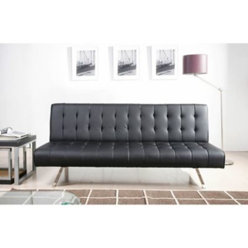 Abbyson Living Milan Faux Leather Futon Sleeper Sofa in Black