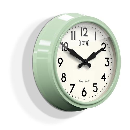 Medium Electric Wall Clock in Kettle Green design by Newgate