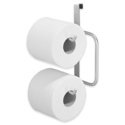 InterDesign Over-the-Tank Double Toilet Paper Roll Holder in Silver