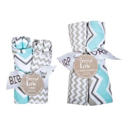 Trend Lab Zigzag 8 Piece Bib and Burp Cloth Set
