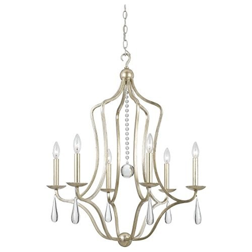 Crystorama 5976-SL Crystal Accents Six Light Chandelier from Manning collection in Pwt, Nckl, B/S, Slvr.finish, [Silver Leaf]