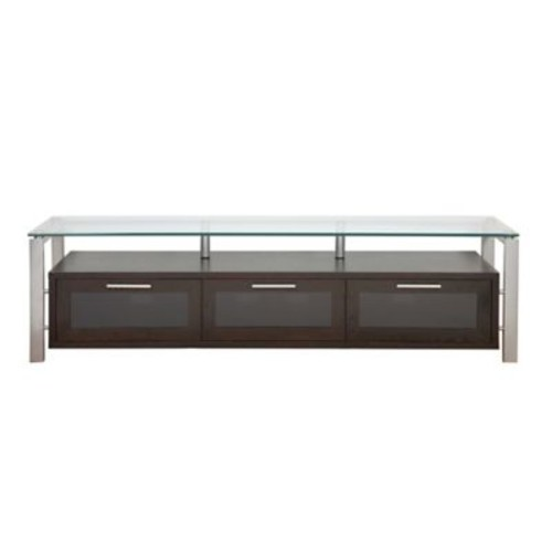 Plateau Decor Series 71'' TV Stand; Espresso and Silver with Black Glass