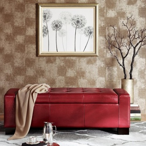 Mirage Bench Storage Ottoman with Tufted Top Red - JLA Home
