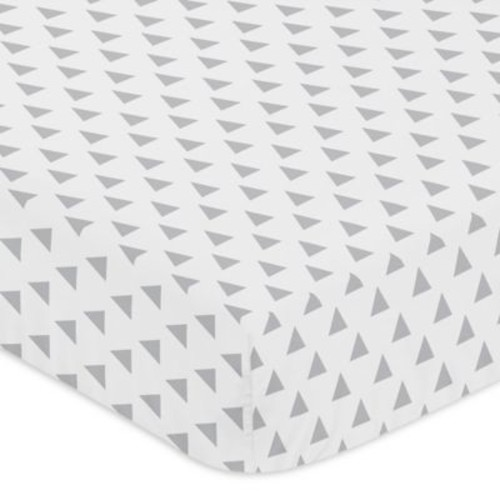 Sweet Jojo Designs Woodsy Triangle Print Fitted Crib Sheet in Grey/White