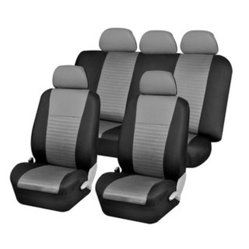 Fresh-Mesh Seat Covers Set Original Grey and Black Polyester with Breathable Knit Mesh Comfort
