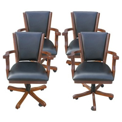 Hathaway Poker Table Chairs - Walnut - Set of 4