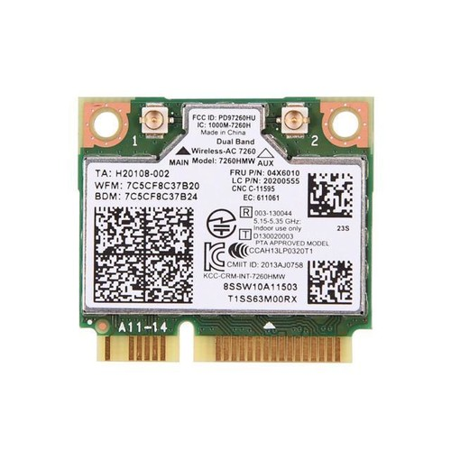 Haoztec For Intel 7260HMW Dual Band Wireless-AC 867Mbps 802.11AC Wifi BT 4.0 PCI-E Card FRU:04X6010