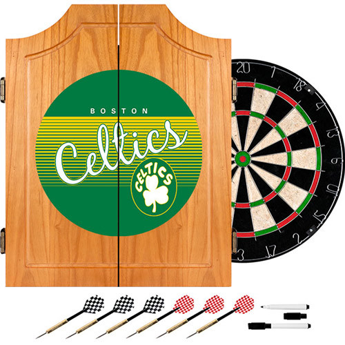 Trademark 20.5 in. Boston Celtics Hardwood Classics NBA Wood Dart Cabinet Set