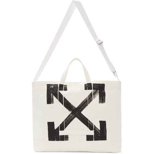 White Brushed Arrows Tote
