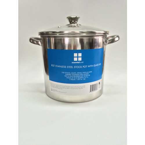 Essential Home 8 Quart Stock Pot with Glass Lid