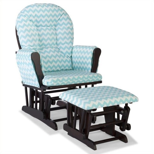 Storkcraft Stork Craft Hoop Custom Glider and Ottoman in Espresso and Turquoise