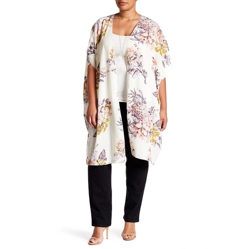 Floral Print Kimono (Plus Size)