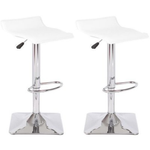 Container Adjustable Height Swivel Bar Stool; White
