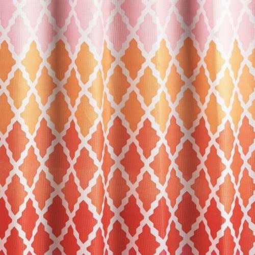 Creative Home Ideas Diamond Weave Textured 70 in. W x 72 in. L Shower Curtain with Metal Roller Rings in Gateway Lattice Pink