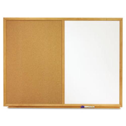 Quartet Bulletin/Dry-Erase Board Melamine/Cork 36 x 24 White/Brown Oak Finish Frame