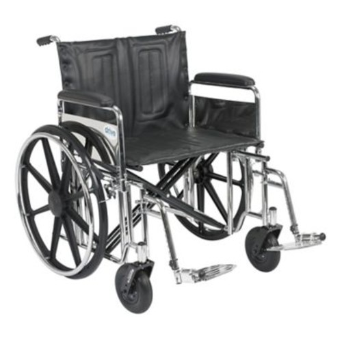 Drive Medical Sentra Extra Heavy Duty Wheelchair, Full Arms, Footrest, 24