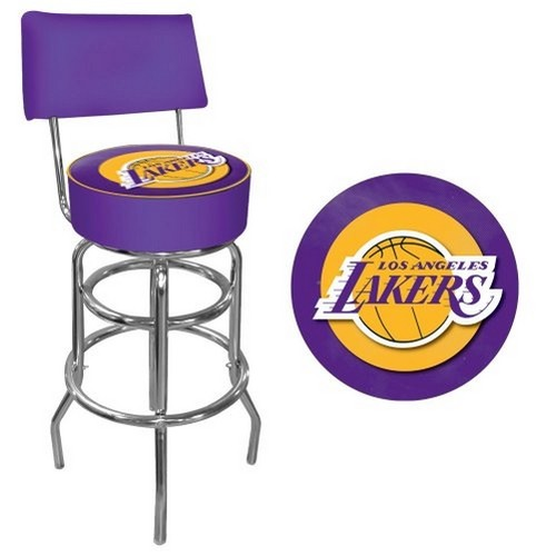 Trademark Gameroom NBA Los Angeles Lakers Padded Swivel Bar Stool with Back