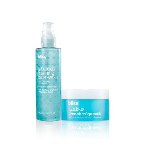 bliss fabulous foaming face wash + drench 'n' quench moisturizer