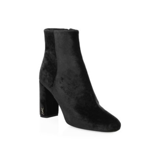 SAINT LAURENT Loulou Velvet Block Heel Booties