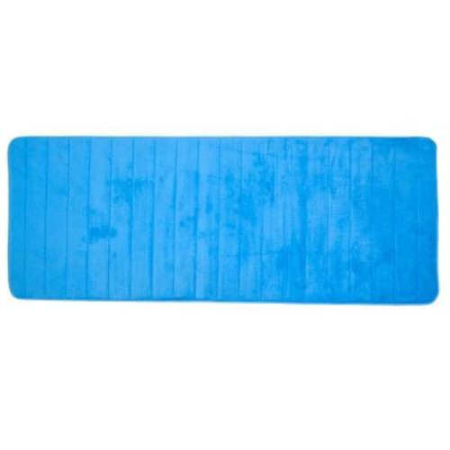 Lavish Home Blue 24.25 in. x 60 in. Memory Foam Striped Extra Long Bath Mat