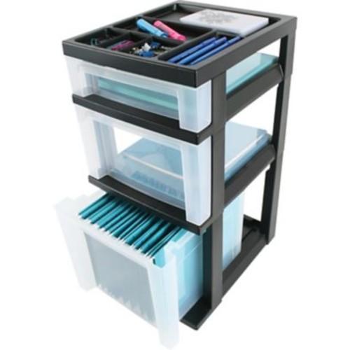 IRIS 3-Drawer Filing Cart with Organizer Top (115027)