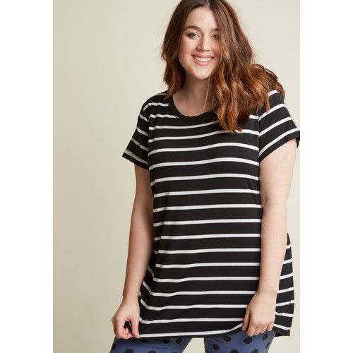 Simplicity on a Saturday Tunic in White Stripes