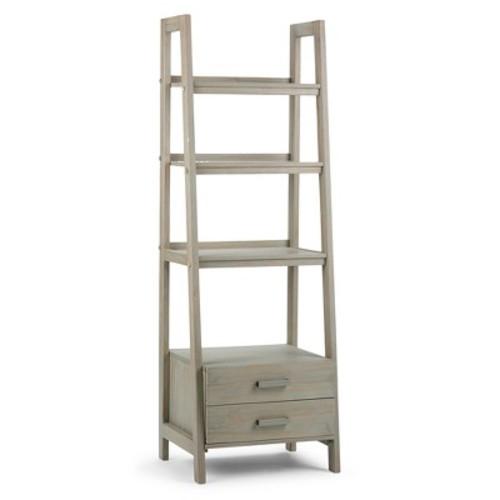 Simpli Home Sawhorse Distressed Grey Storage Ladder Bookcase