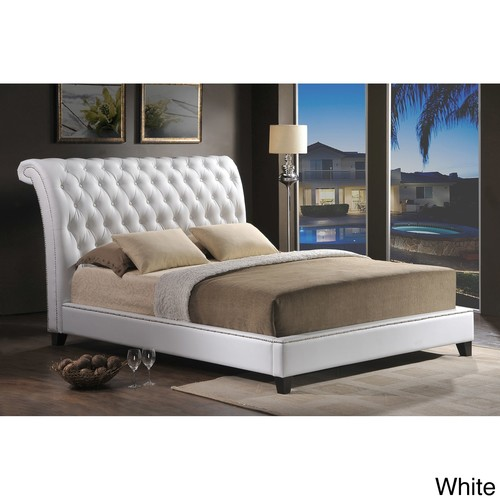 Jazmin Tufted White Modern Bed with Upholstered Headboard - Queen Size