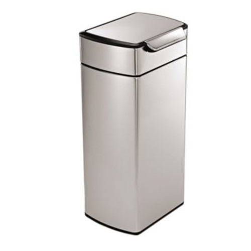 simplehuman Brushed Stainless Steel Fingerprint-Proof Rectangular 30-Liter Touch Bar Trash Can