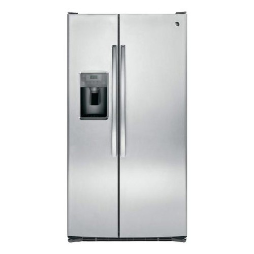 GE - 25.4 Cu. Ft. Frost-Free Side-by-Side Refrigerator with Thru-the-Door Ice and Water - Stainless steel