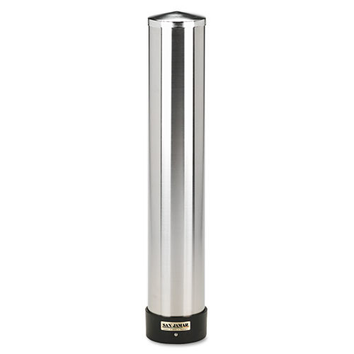 San Jamar C3400P 12-24 oz Stainless Steel Pull Type Beverage Cup Dispenser with Removable Cap [14 oz]