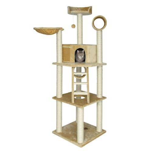 TRIXIE Pet Products Cat Tree Play House Scratcher Condo Pet House Combo [beige, Montilla Heavy Duty High Rise Tower for Cats]