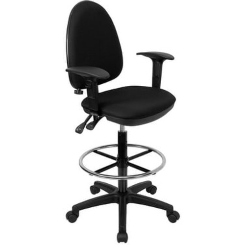 Boswell Mid-Back Black Fabric Professional Drafting Chair w/Lumbar Support, Arms