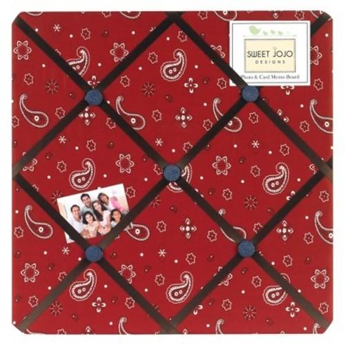 Sweet Jojo Designs Wild West Bandana Photo Memo Board- Chocolate-Red-Cream-Blue