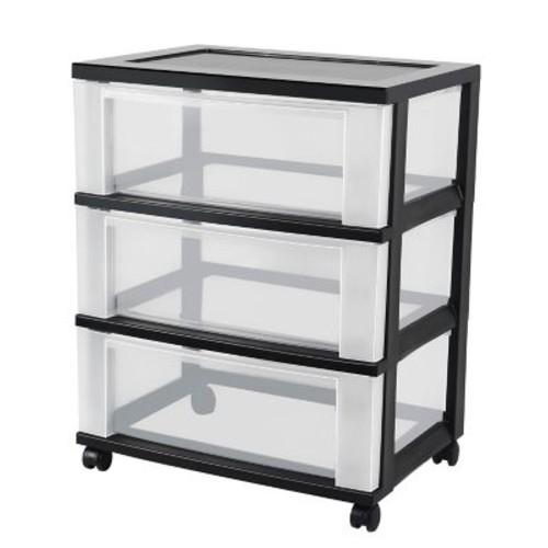 IRIS 3 Drawer Wide Plastic Storage Drawer Cart, Black (124007)
