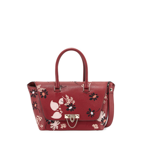 VALENTINO Demilune Floral-Print Double-Handle Small Satchel Bag
