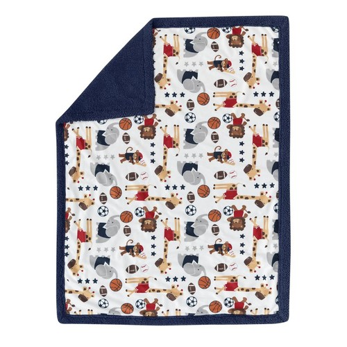 Lambs & Ivy(R) Future All Star Blue/Red Sports Minky/Sherpa Blanket