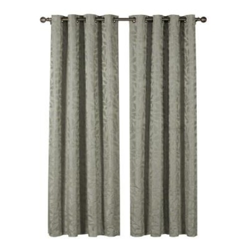 Window Elements Semi-Opaque Alpine Textured Woven Leaf Jacquard 84 in. L Grommet Curtain Panel Pair, Sage (Set of 2)